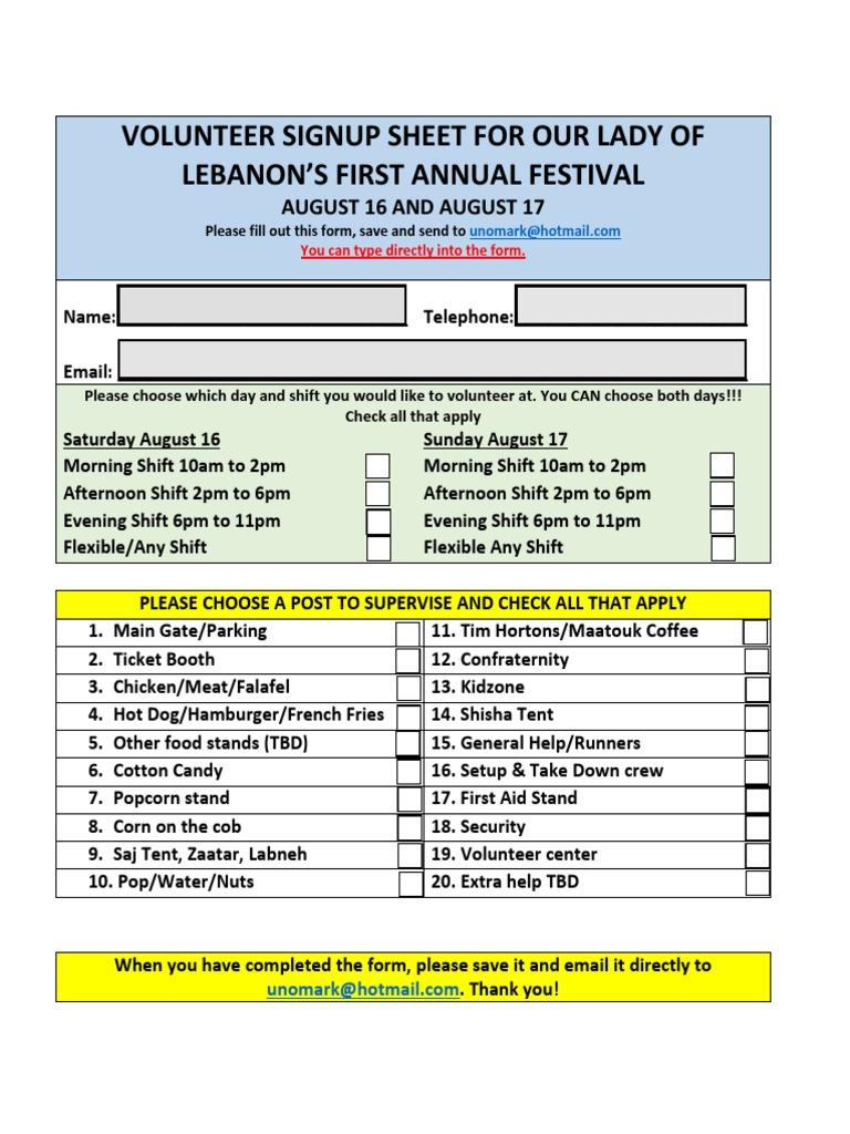 volunteer signup sheet for ololfestival