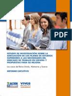 """""""Estudio de Investigación sobre la Adecuación de los Planes de Estudios Universitarios a las Necesidades del Mercado de Trabajo en España y Propuestas para su Mejora"""" Informe Ejecutivo"""