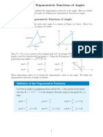 Trigonometric Functions of Angles