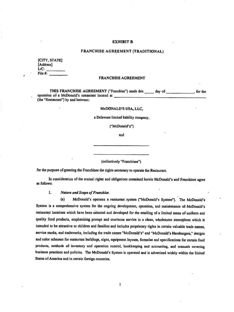 McDonalds Franchise Agreement – Training Agreement Template