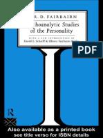 W. Fairbairn-Psychoanalytic Studies of the Personality (1994)