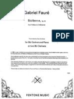 Fauré Siciliana Clarinete y Piano