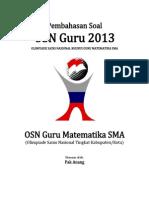 Pembahasan Soal OSN Guru Matematika SMA 2013 Tingkat Kabupaten Kota