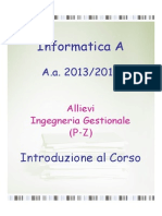 1- Introduzione Al Corso e Algoritmi