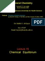 Lecture 15- Chemical Equilibrium
