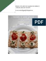 Crackers de Arroz Inflado Con Queso de Cabra y Mermelada de Tomate
