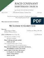 Worship Bulletin July 13, 2014