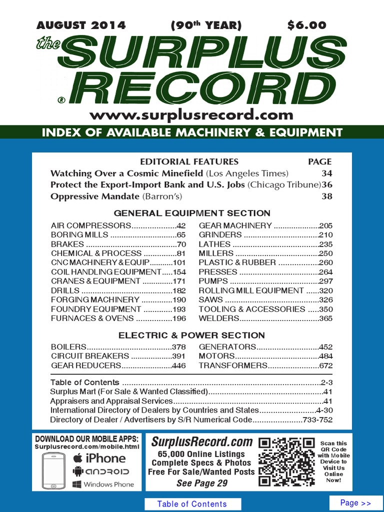 August 2014 surplus record machinery equipment directory for Furnace brook motors inventory