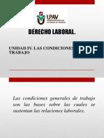 UNIDAD IV. Las Condiciones de Trabajo