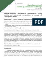 Sunlight-stimulated Phenylalanine Ammonia-lyase (PAL) Activity and Anthocyanin Accumulation in Exocarp of 'Mahajanaka' Mango