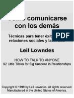 Lowndes, Leil (1999). Resumen-Como Comunicarse Con Los Demas