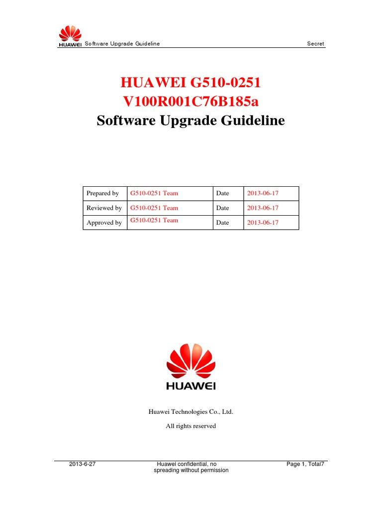 HUAWEI G510-0251 V100R001C76B185a Upgrade Guideline   Secure Digital    Telephone