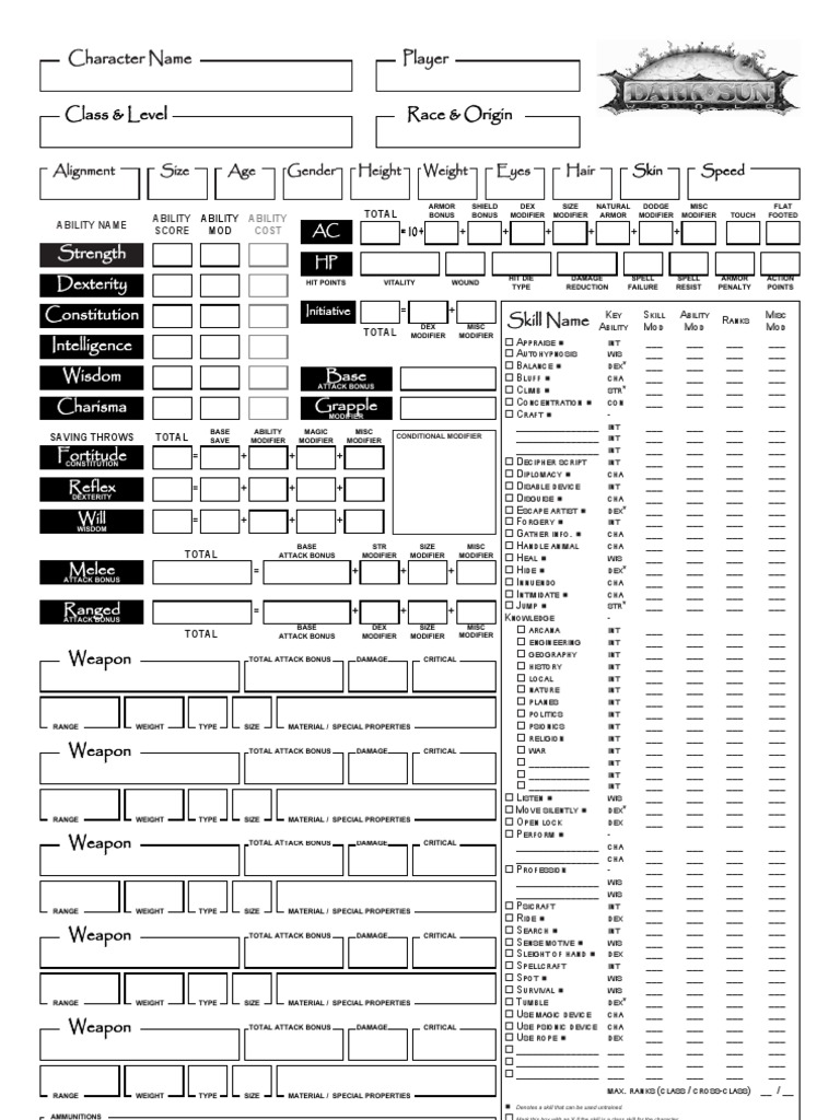 It's just a photo of Sizzling 3.5e Character Sheet Printable
