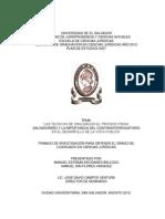 Las Tecnicas de Oralidad en El Proceso Penal Salvadoreno y La Importancia Del Contrainterrogatorio en El Desarrollo de La Vista Publica