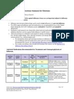 Antiviral Summary Clinicians Influenza