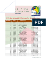 FIFA 2014 World Cup Fixture