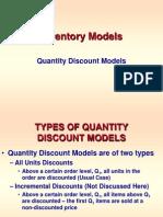 INVENTORY -- Quantity Discount Models