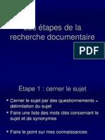 Les Etapes de La Recherche Documentaire