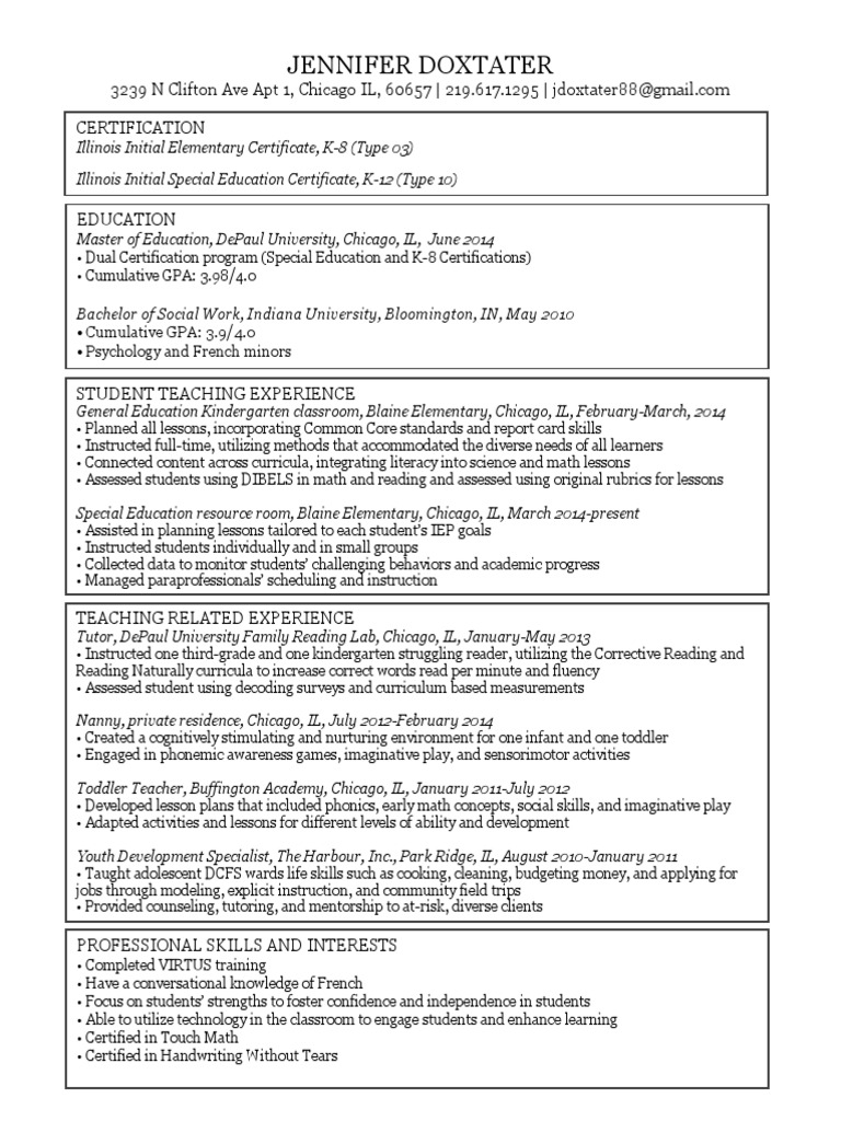 Doxtaterresume2014 special education curriculum 1betcityfo Images
