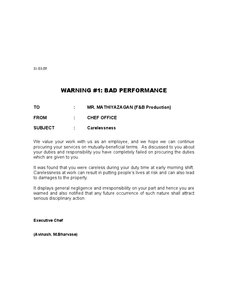 a warning letter to an employee