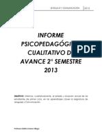 Informe de Avance 2 Semestre 2013