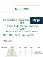 Transaction Processing System (TPS) Office Automation System (OAS)