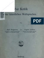 Brugmann, Leskien - Zur Kritik der künstlichen Weltsprachen, Zur Kritik des Esperanto (1907)