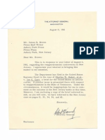 Robert Kennedy - Letter - August, 1961