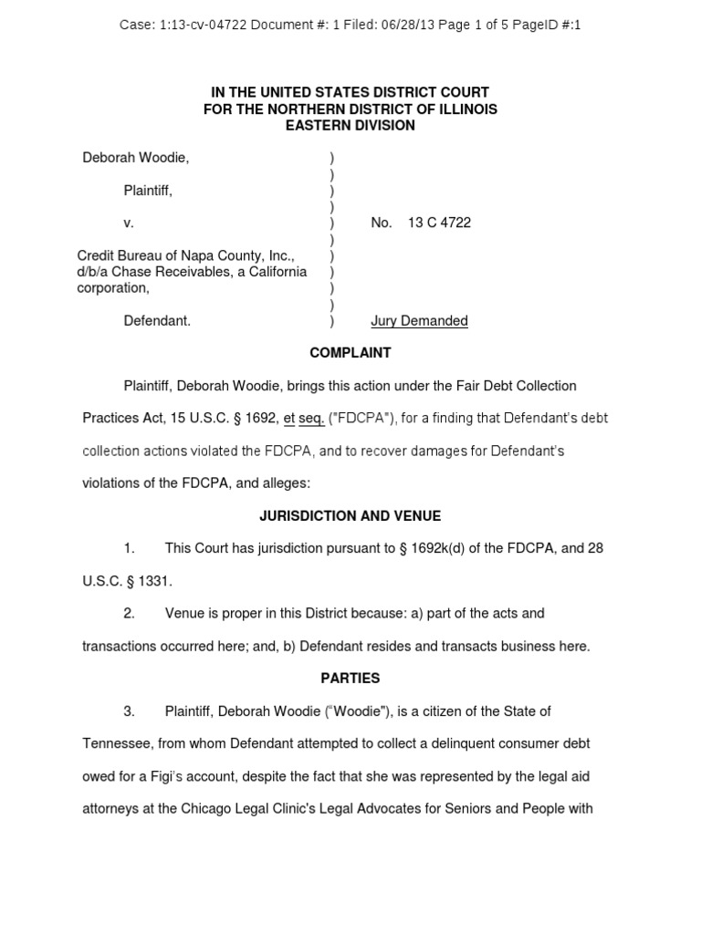 Woodie V Chase Receivables Fdcpa Complaint Illinois Collection