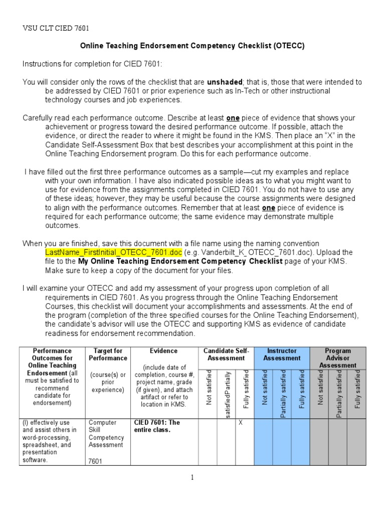 Online Teaching Endorsement Competency Checklist Educational