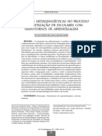 Habilidades Metalinguísticas No Processo de Alfabetização de Escolares Com Transtorno de Aprendizagem
