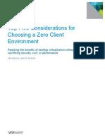 Vmware Top Five Considerations for Choosing a Zero Client Environment Techwp