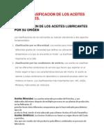 Tipos y Clasificacion de Los Aceites Lubricantes
