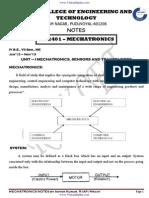 ME2401 Mechatronics Notes