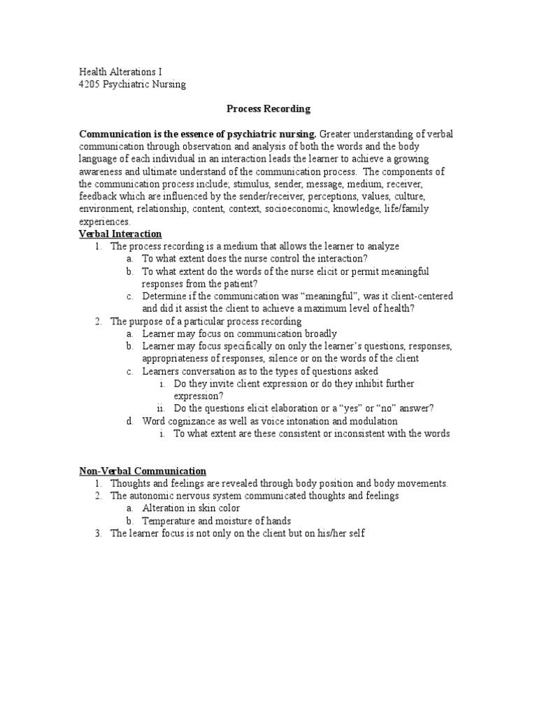 process recording nursing
