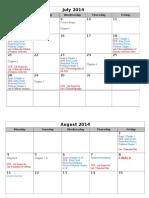 Summer II Calendar
