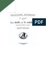 Kant, Inmanuel - Lo Bello y Lo Sublime