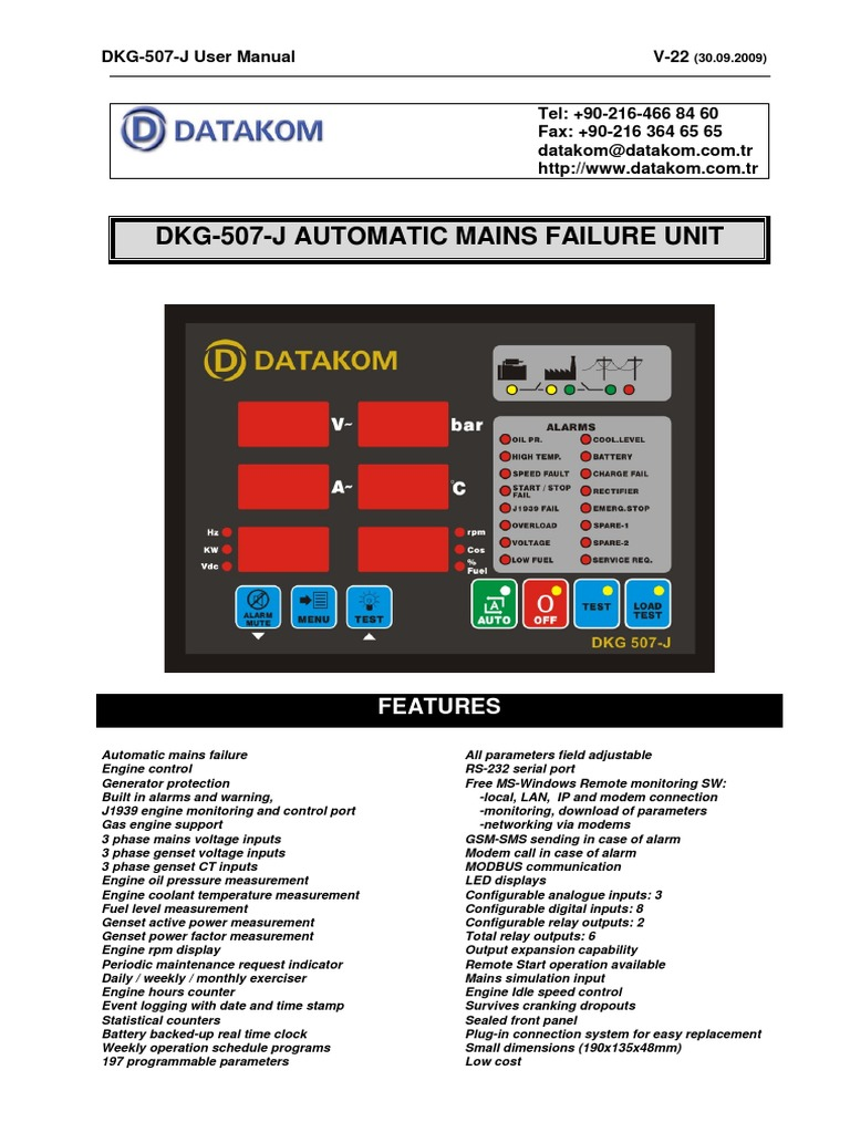 Datakom 507 J User Electrical Connector Fuse Automatic Mains Disconnect