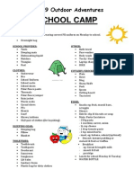9oa school camp itinerary  equipment list