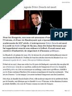 L'Entrepreneur Hongrois Peter Zwack Est Mort