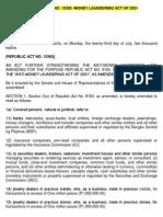 Republic Act No. 10365 -Money Laundering Act of 2001