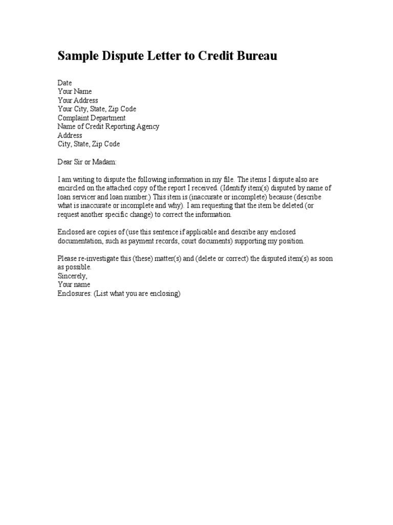 Sample Dispute Letter To Credit Bureau  PDF With Credit Report Dispute Letter Template