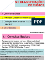 Conceitos e Classificacoes de Custos