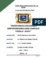 Trastornos Complejo Cóndilo - Disco ( Uigv - Peter a. Flores )