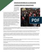 Sindicatos Denuncian Reforma de La Legislacion