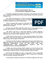 july12.2014 bDisclaimer of no therapeutic value on packaging of food/dietary supplements sought