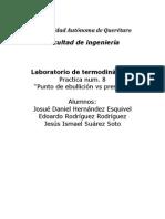 Prática 8 Termodinámica Punto de Ebullición vs Presión