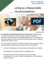 Telecommuting as a Reasonable ADA Accommodation