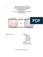 Antonio Jose de Sucre y Francisco de Miranda