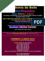 Horario Clases de Baile Academia Latin Mambo